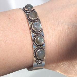 Labradorite cuff Bracelet Silver Plated Gemstone